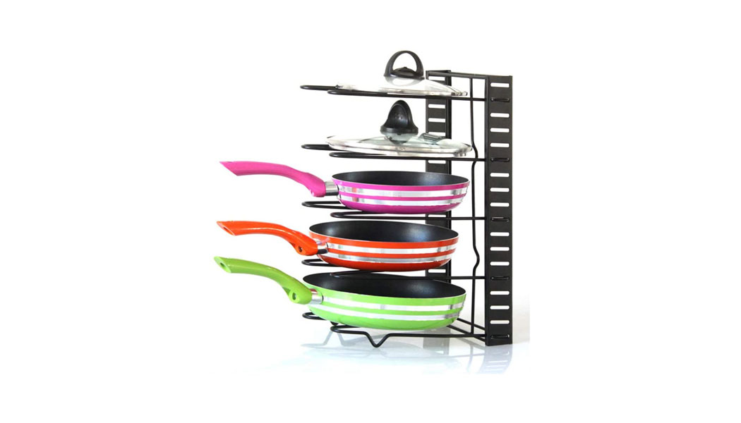 Goolsky Pan Holder Pot Lid Rack Pan Organizer Pan Lid Cover Cabinet for Pots and Pans 5-layers