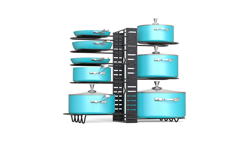 Rness Pan Organizer Adjustable Holder, Pot Stand for Cabinet and Counter 3 DIY Mode 8 Tiers Non-Slip U Shape Groove with 3 DIY Mode